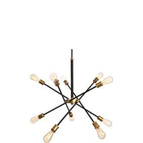 A mid-century modern style black iron sputnik chandelier. Links to where to shop mid-century modern lighting.