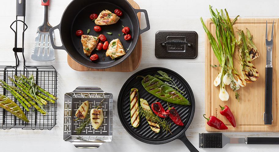 Grill out, eat in. Cool weather can't stop the grilling. Get the tools to create healthy, flavorful meals outdoors and then enjoy them in your cozy kitchen. With spring produce on its way, now is the time to start practicing your grill game.