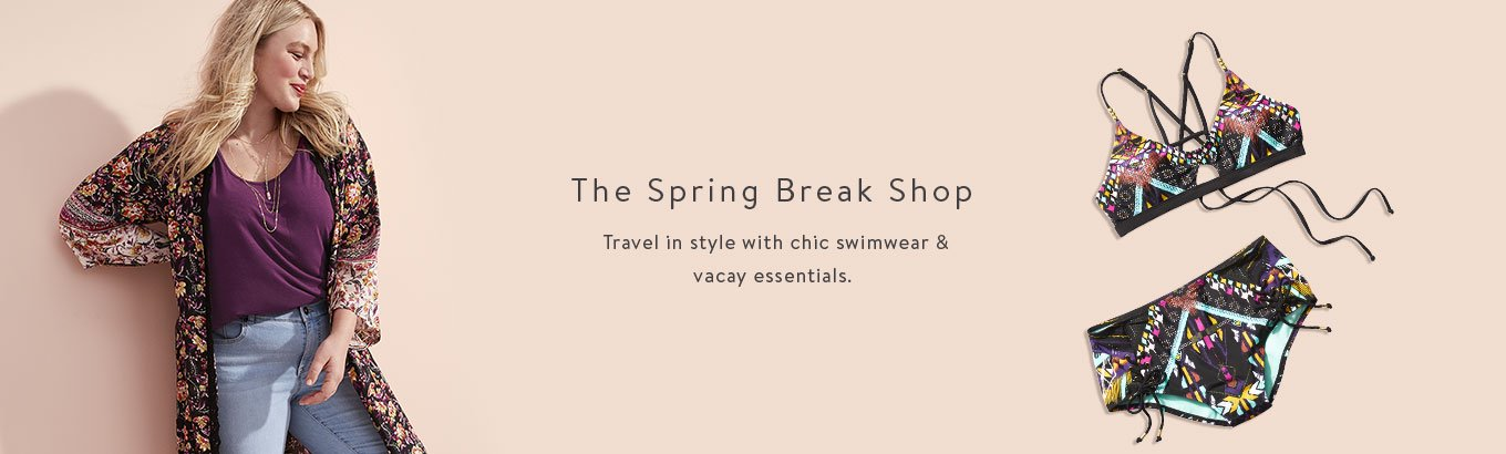 The Spring Break Shop. Travel in style with chic swimwear & vacay essentials.