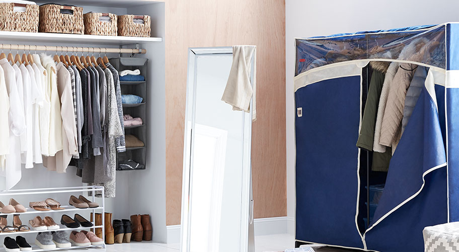 Storage for every season. Start fresh in the new year with an organized closet. It's easy to sort and store cold-weather gear on rolling racks for next season, while baskets and hanging shelves keep extra blankets tidy.