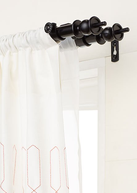 Curtain rods. Available in many styles, rods are functional and stylish essentials for hanging drapes.