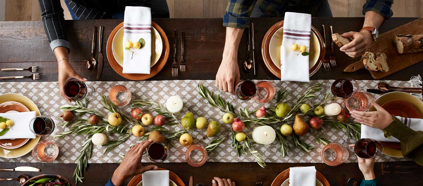 Hosting & toasting. Set the stage for bountiful spreads with festive dinnerware & decor.