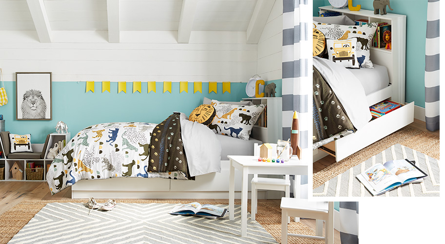 Space to imagine. With furniture that provides clever storage solutions, it's easy to create a kids' room that has zones for study, play and sleep. Find beds with cubbies and hidden drawers, reading nooks with shelves and more.