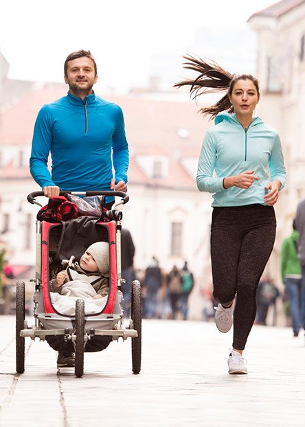 On a fitness stroll. Get-fit goals? Get Baby on board with our jog strollers.