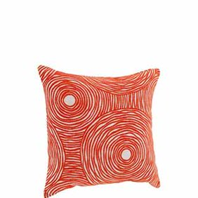 An orange decorative pillow. Links to a where to shop mid-century modern home decor.