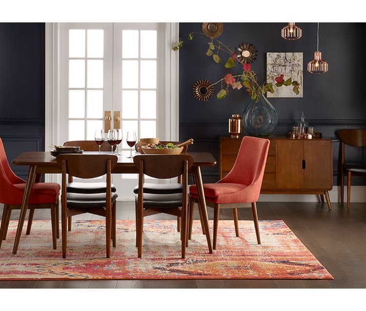 A mid-century modern living room and a mid-century modern dining room. Links to where to buy mid-century modern home furnishings and decor.