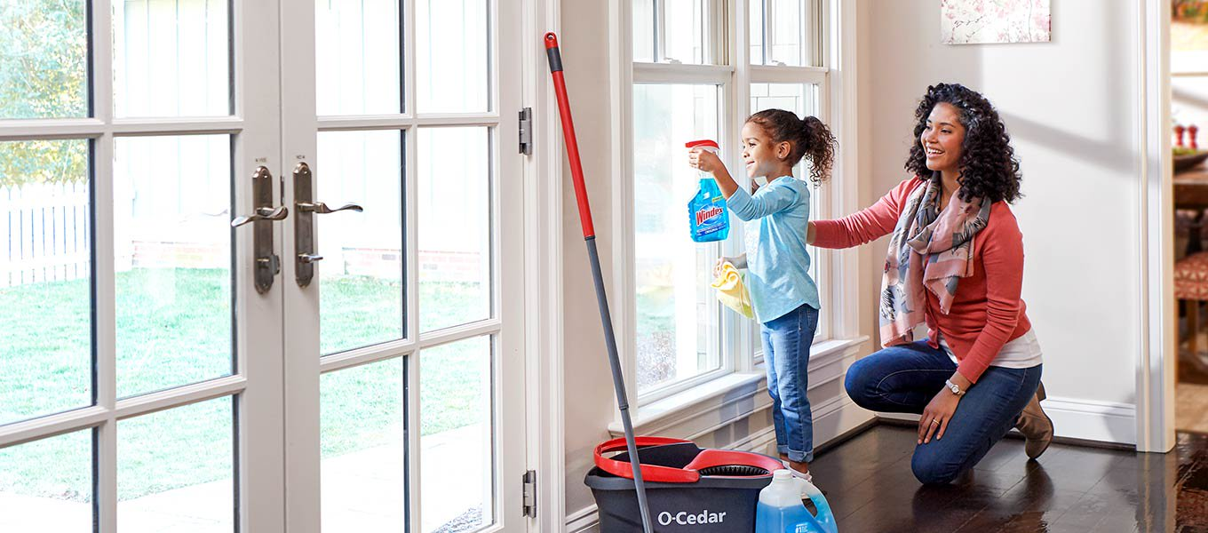 Spotless for spring. Cleaning supplies for a sparkling home.