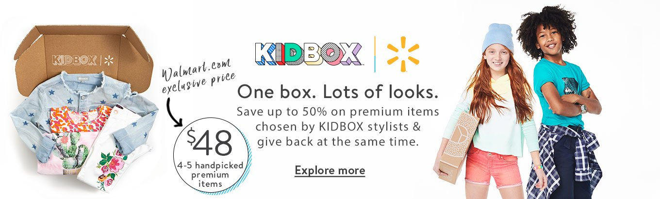 KIDBOX + Walmart. One box. Lots of looks. Save up to 50% on premium items chosen by KIDBOX stylists & give back at the same time. $48 for 4-5 handpicked premium items. A Walmart.com exclusive price. Explore more.