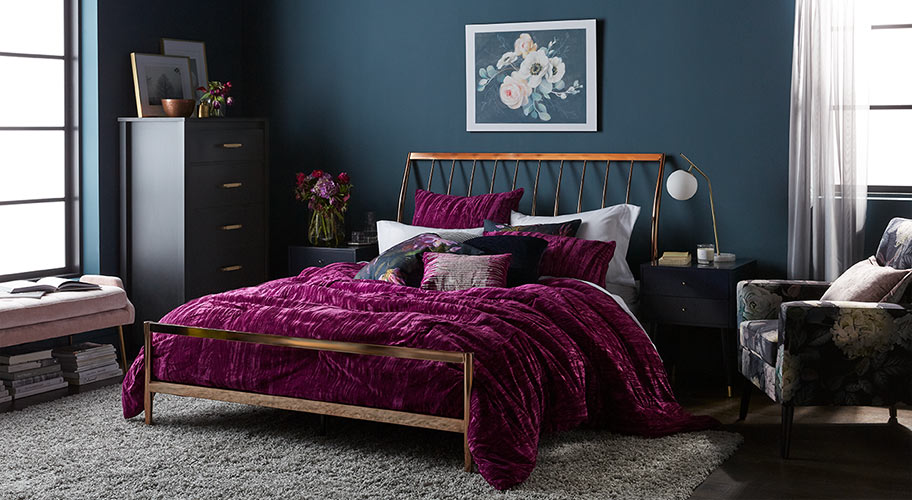 Glam bedroom. Velvets and florals add dreamy style.