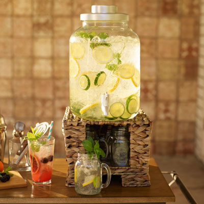 Large beverage dispenser filled with lemonade