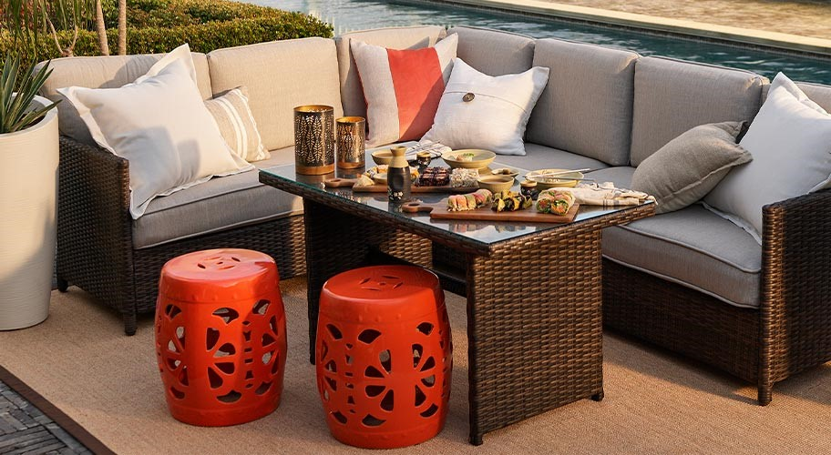 Made for lounging. With a table roomy enough to serve a meal, this patio dinette set will have you ready for long, leisurely afternoons that stretch into warm evenings. Grab a good book or invite your friends and settle in. summer is waiting.