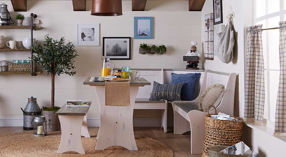 Diner's choice. A dining bench makes a room feel more open and lets you squeeze in another friend. Shop our selection of dining furniture, including benches and extra chairs, to find a set that works for your mealtimes.