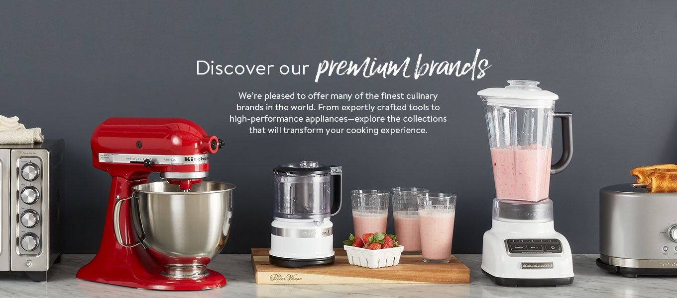 Discover our premium brands. We're pleased to offer many of the finest culinary brands in the world. From expertly crafted tools to high-performance appliances—explore the collections that will transform your cooking experience.