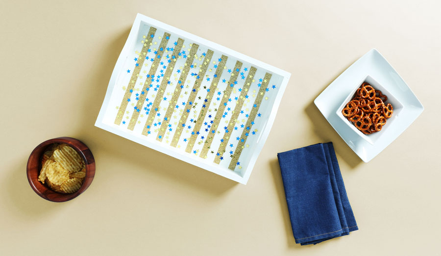 DIY Sparkles & Stripes Confetti Tray