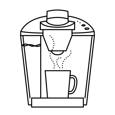Illustration of k-cup coffee maker