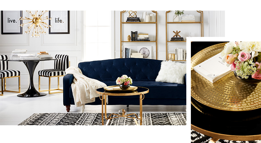 A glam furniture and decor page.