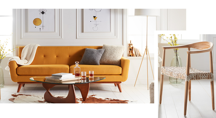 A mid-century modern furniture and decor.