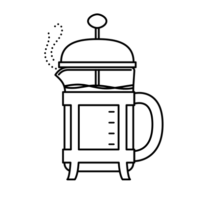 Illustration of french press coffee maker