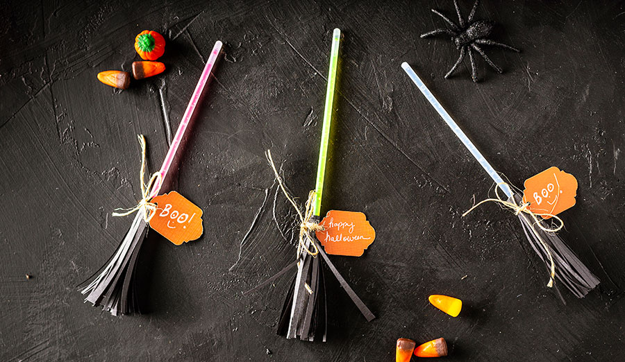Glow stick witch's broom party favor