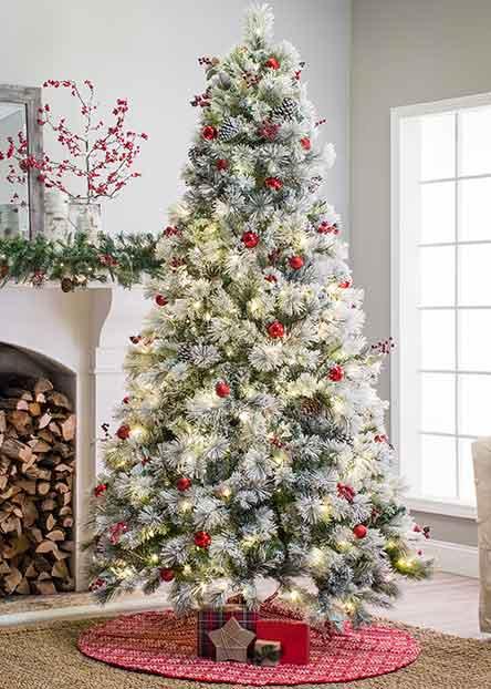 Flocked Christmas Trees - Christmas Decorations €� Walmart.com