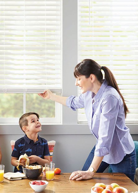 Cordless blinds. They're easy to raise and lower without cords, these are the safe, easy option for homes with kids and pets.