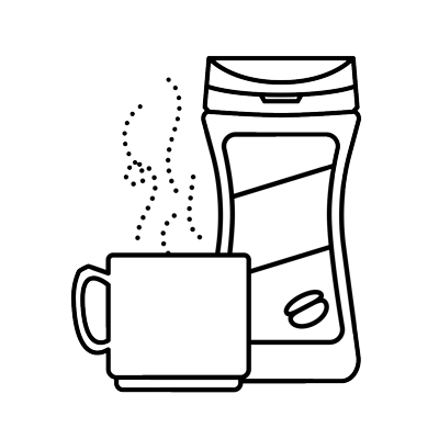 Illustration of instant coffee and mug