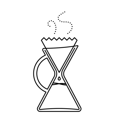 Illustration of pour over coffee