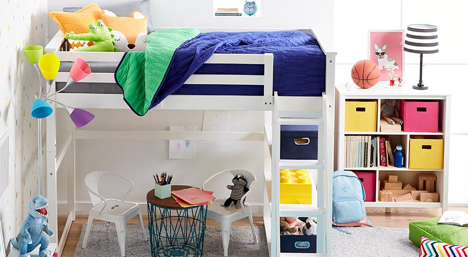 Compact & colorful.  Get kids' rooms organized in affordable, colorful style. Choose a loft bed to maximize space & add storage, bedding & decor in bright, bold colors for a playful look they'll love.