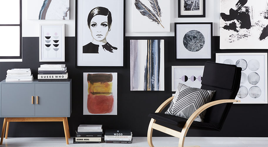 Wall-to-wall art. Your walls are a blank canvas, primed for self-expression. Give your style a focus with a simple palette in everything from fun sketches to monochromatic photos. Find it all here, for less.