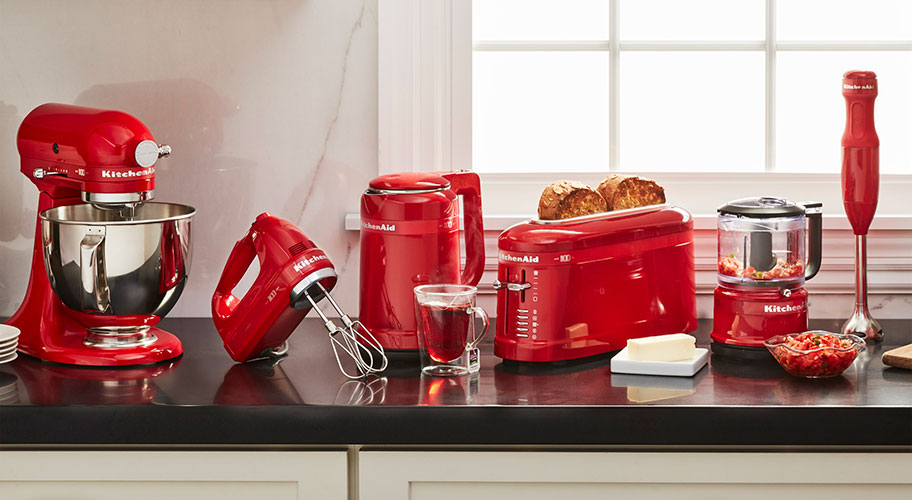 100 years of baking. Celebrate the KitchenAid anniversary with a new collection of bold red mixers & essential appliances. They'll soon take pride of place on your counter, & the heart motif will make every baking project feel special.