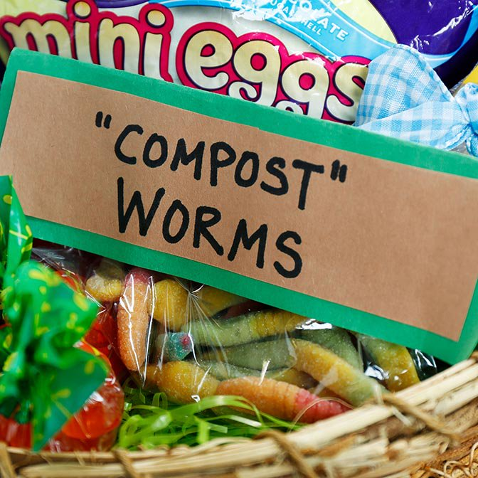 """Gummy worms labeled """"compost"""" worms in baggie"""