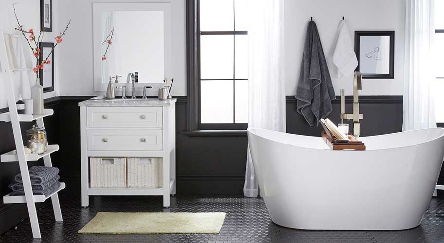 Season of renewal. Bring that spring feeling of freshness & light to your bath with a plush new mat & towel set.
