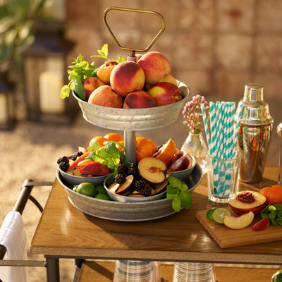 2-tier platter with peaches & stone fruit