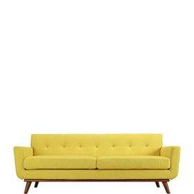 A yellow mid-century modern style sofa. Links to where to shop mid-century modern style living room furniture.