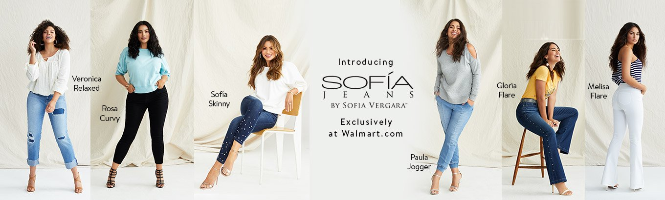 Introducing Sofía Jeans By Sofía Vergara. Exclusively at Walmart.com. Rosa Curvy. Sofía Skinny. Paula Jogger.