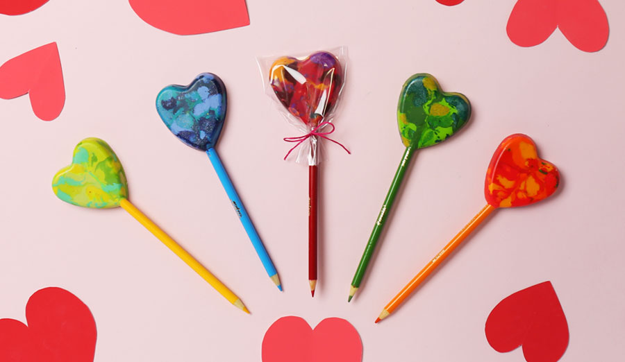 DIY Heart Lollipop Pencils